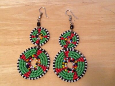 African-Arena Handamde Maasai Masai Beaded Green Mix Colors Dangle Earrings AA37