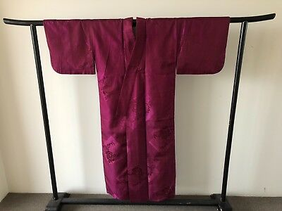 Japanese Vintage Purple Woven Floral Silk Kimono Decorative Costume Robe Jacket