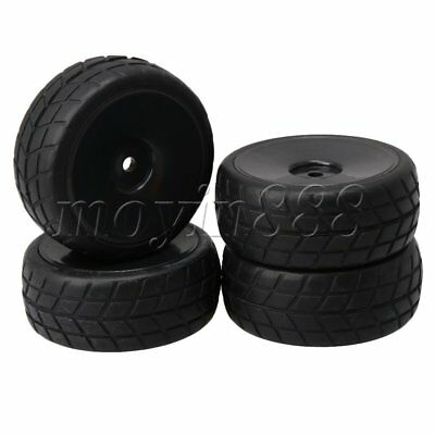 4 PCS Black Plastic Wheel Rims & Tires for RC 1:10 On-Road Racing Car