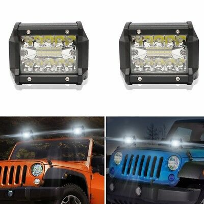 2x 4 inch CREE LED Work Light Pod Spot Flood Combo Driving Light For Ford JEEP