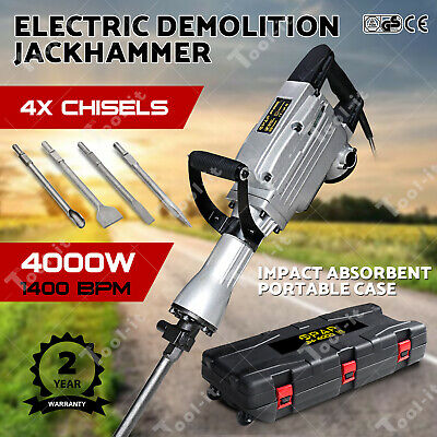 2400W/3000W Demolition Jack Hammer Commercial Grade Electric Tool 4 Chisels AU