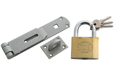 "Heavy Duty Security Shed / Gate Set 14"" Hasp & Staple 63mm Large Padlock 3 Keys"