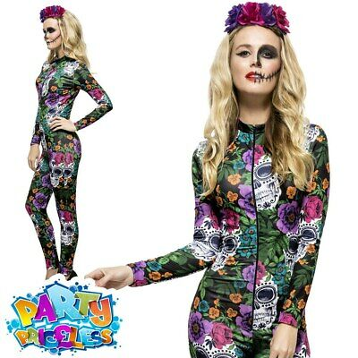 Womens Day of the Dead Costume Catsuit Sugar Skull Ladies Halloween Fancy Dress