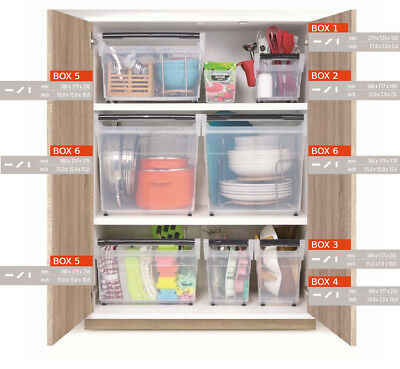 Clear Plastic Storage Box Containers / Practical Wardrobe Organiser with Wheels