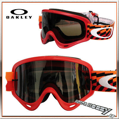 Maschera Occhiale Oakley O-Frame Mx Braking Bumps Red Orange Lente Fume' Scuro