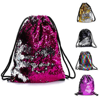 1x Reversible Sequin Glitter Outdoor Shoulder Bag Sports Backpack Women Xmas Bag