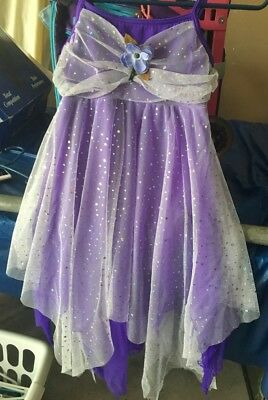 DESIGNS FOR DANCE Girls ICE SKATING Dress COSTUME Sz LC  PURPLE with OVERLAY EUC
