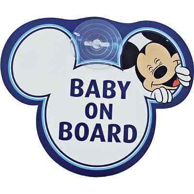 Disney MICKEY MOUSE Autoschild 'BABY ON BOARD' mit Saugnapf # NEU
