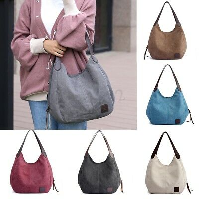 Women Vintage Ladies Large Canvas Handbag Travel Shoulder Bag Casual Tote Purse