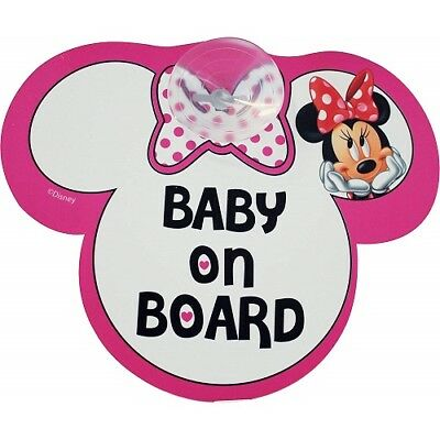 Autoschild MINNIE MOUSE Disney 'BABY ON BOARD' mit Saugnapf ORIGINAL # NEU