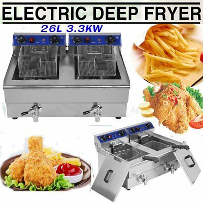 Electric Countertop Deep Fryer Dual Tank Commercial Restaurant Steel w/ Nozzle X