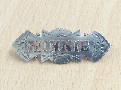 Antique Sterling Silver & Rose Gold Minnie Name Brooch Pin 1900