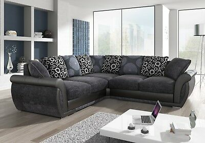 New Large Shannon Vegaz Sofa Corner 5 Seater Grey Black Fabric & Leather Couch