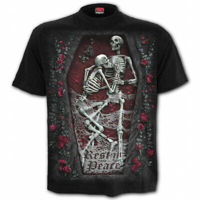 SPIRAL DIRECT REST IN PEACE T-Shirt/Tattoo/Skull/Goth/Rock/Couple Lay/Bone/Top