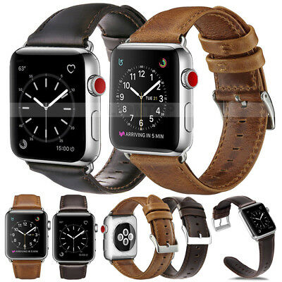 Genuine Luxury Leather Strap Watch Wrist Band For Apple Watch Series 4 40/44MM *