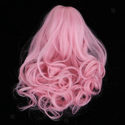 Fantasy Wave Curly Hair Wig for 18inch American Girl Doll DIY Making Pink