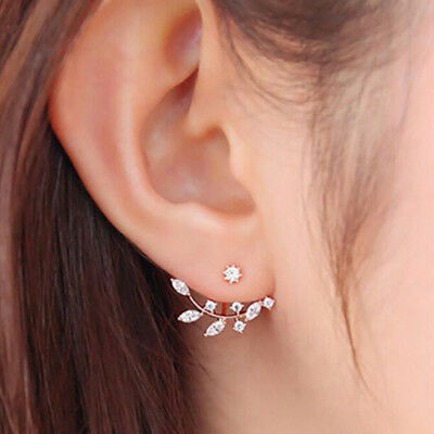 Fashionable Front Back Leaf Branch Sparkling Rhinestone Earrings Gifts one