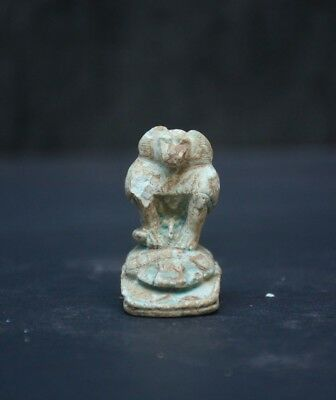 Ancient Egyptian Baboon Monkey setting on Scarab Mascot Statue / Reproduction