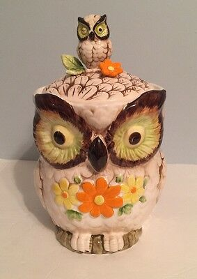 Vintage 1970's Ceramic Owl Cookie Snack Jar Canister