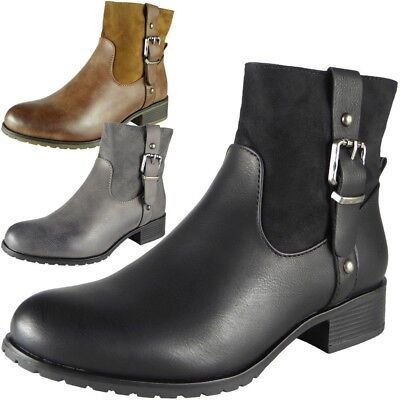 Womens Mid Heel Zip Ankle Fashion Boots Casual Buckle Winter Shoes Sizes