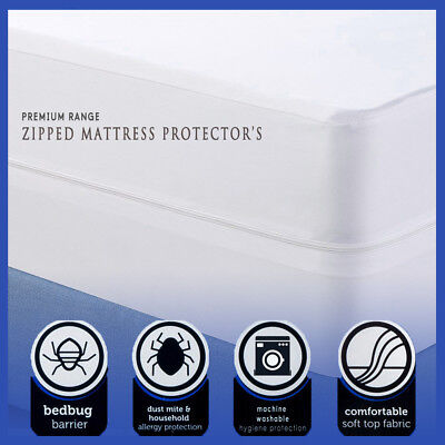 100% Cotton Poly Blend Anti Allergy Zipped Mattress Protector Bugs Mites Treated