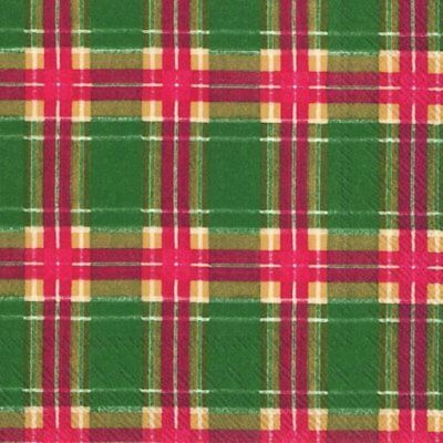 Flannel Check GREEN Red Gold Tartan Style Design 3 Ply Paper Napkins Pack of 20