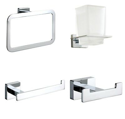 Square Modern Chrome Bathroom Wall Accessories Designer Toilet Roll Holder