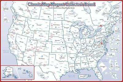 State Magnet Collectors Map Board Double Sided for Small and Medium Magnets