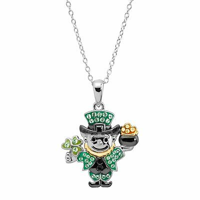 Crystaluxe  Leprechaun Pendant with Swarovski Crystals in Sterling Silver