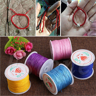 0.8mm 45M Nylon Cord Thread Chinese Knot Macrame Rattail Bracelet Braided String