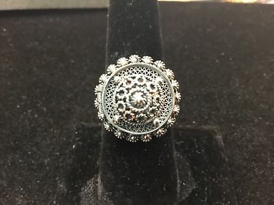 Vintage / Antique Ornate Poison Ring Hidden Compartment - 800 Silver - s 7
