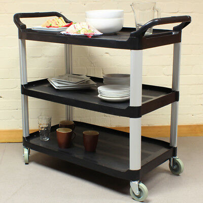 Black Large 3 Tier Kitchen/Hostess Catering Trolley/Cart Tea/Drink/Dish Caddy