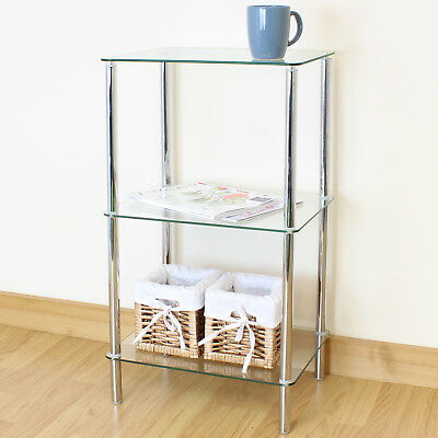 74cm Clear Glass 3 Tier Shelf/Display Unit Lounge/Hall Side/Lamp Table/Shelving