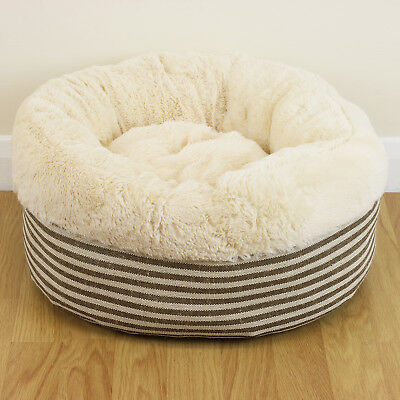 Super Cosy Warm Washable Small Striped Cat/Kitten Soft Round Snug Donut Pet Bed