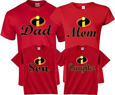 The Incredibles Custom Mom Dad Family Birthday Boy Girl Customized RED T Shirts