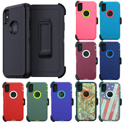 For Apple iPhone XS / XR / MAX Defender Case Cover (Belt Clip Fits Otterbox)
