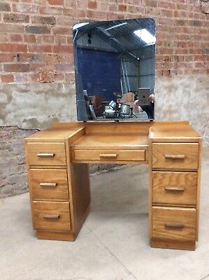 Vintage Mid-Century Art Deco Style Oak Dressing Table / Desk with 7 Drawers