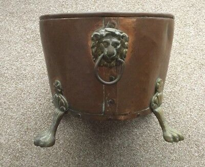 Vintage Oval Copper & Brass Coal Bucket with Claw Feet & Lion head handles