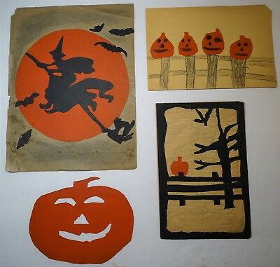 SUPER School Child's - Halloween Folk Art Group ID'd 1930s - Witch JOL -