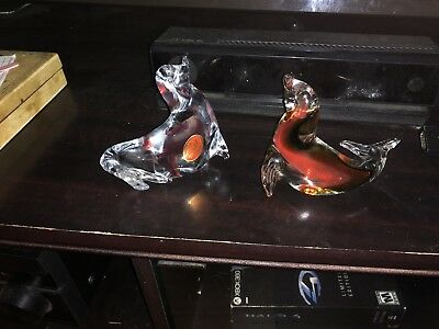 Vintage Murano Italy Italian Hand Blown Art Glass Seal Set