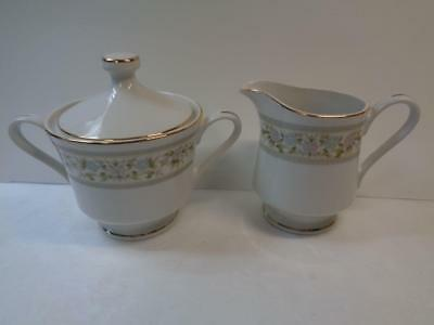 Vintage Empress China ARCADIA Creamer & Sugar Bowl 1015 Pink Green Blue Floral