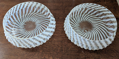 PAIR of Fenton Vase Antique 1939 Spiral Optic French Opalescent Glass Bowls