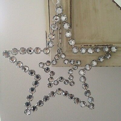 Large  Silver Jewelled Double Hanging Heart & Star Decoration