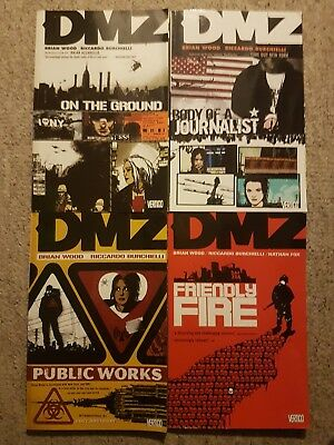 DMZ Volume 1 2 3 4 Graphic Novels, Brian Wood Riccardo Burchielli Vertigo Comics
