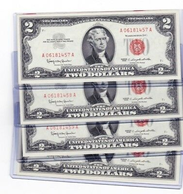 1963 $2 Dollar Red Seal Sequential or consecutive serial numbered lot pls read