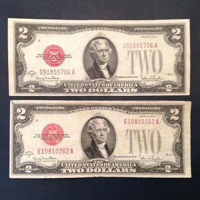 1928 G US $2 Red Seal Notes - 2 Note Lot