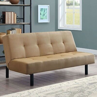 3 Position Tan Futon Sleeper Guest Bed Couch Seat Chair Furniture Contemporary