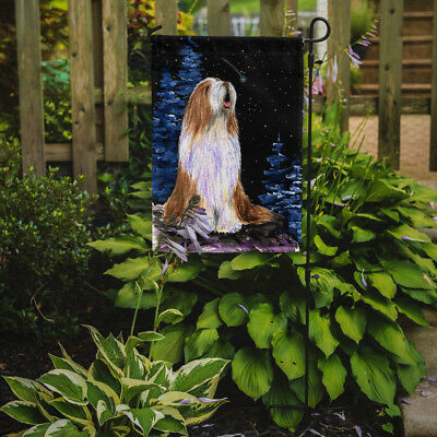 Carolines Treasures  SS8467GF Starry Night Bearded Collie Flag Garden Size