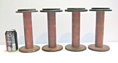 Set of 4 Vintage Industrial Cotton Mill Wood Spools Large Heavy Decor 9 H x 5 W