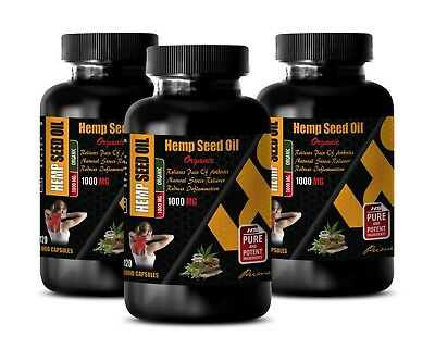 hemp oil capsules - ORGANIC HEMP SEED OIL 1000mg - pain relief - 3 Bot 360 Caps